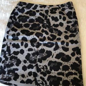 Lined print rayon/ linen skirt